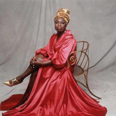 Nina Simone in Pink Dress and Gold Turban