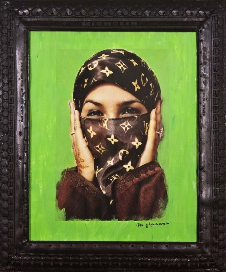Saida in Green. Digital c-print and tyre frame, 65 x 55 cm photo by Hassan Hajjaj, 2000 © V&A. Art Fund Collection of Middle Eastern Photography at the V&A and the British Museum