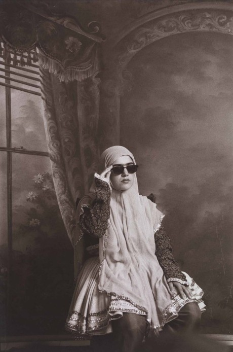 From the series 'Qajar' photo by Shadi Ghadirian, 1998. Gelatin silver bromide print, 30 x 24 cm © V&A. Art Fund Collection of Middle Eastern Photography at the V&A and the British Museum