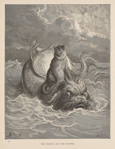 Gustave Doré. The Monkey and the Dolphin (1867)