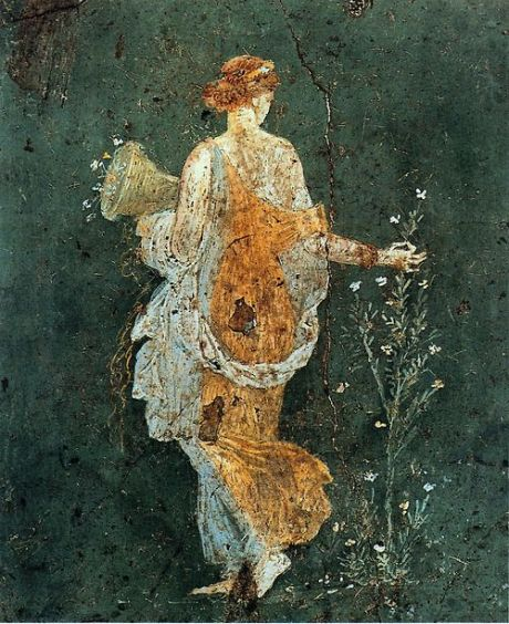 Flora, woman picking flowers with a cornucopia in the ruins of Pompeii, 1-45 AD.