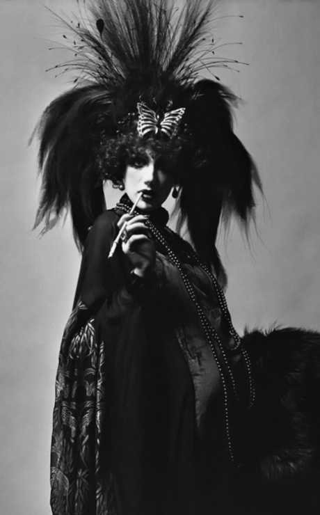 Marisa Berenson dressed as Marchesa Luisa Casati at Le Bal Proust, or The Proust Ball, 1971.