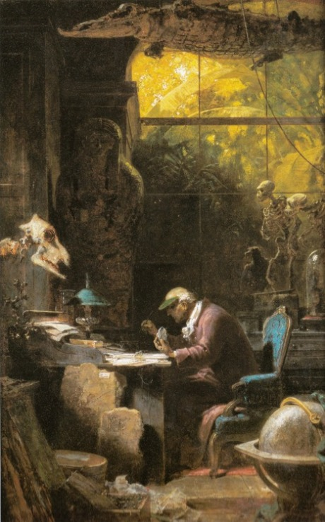 Scholar of Natural Sciences (c.1875–80). Carl Spitzweg (German, 1808–1885). Oil on paper mounted on canvas. Milwakee Art Museum.