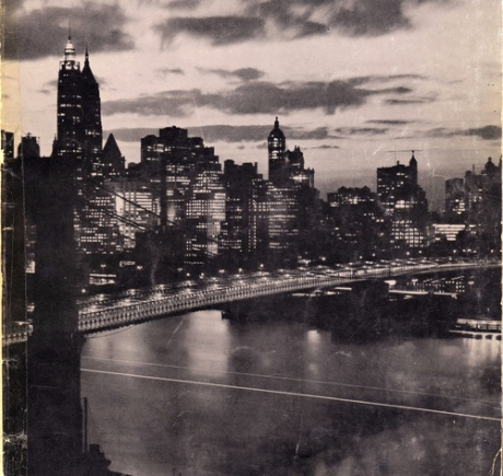 Night View of Lower Manhattan Skyline showing Brooklyn Bridge April 1956