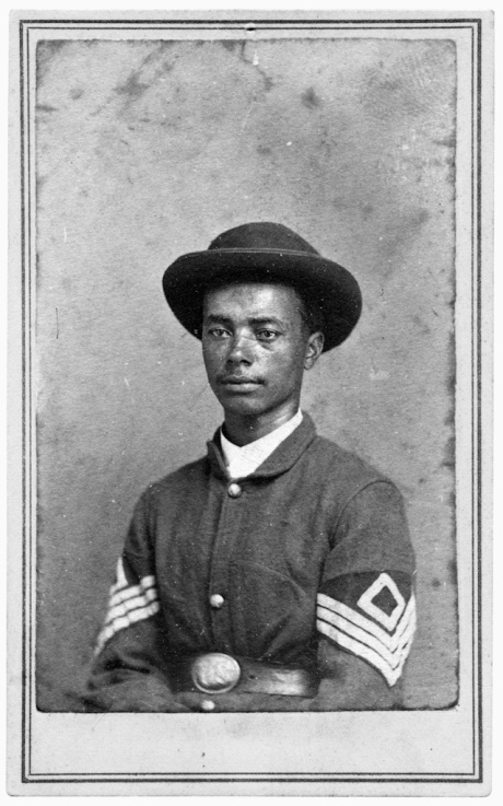 1st Sgt. Octavious McFarland, Company D, Sixty-second U.S. Colored Infantry. Carte de visite by unidentified photographer, about 1864-1866. © Collection of the Gettysburg National Military Park Museum.