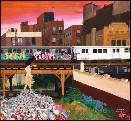 "The Death of Graffiti by LADY PINK, 1982, acrylic on masonite, 19x22."" Courtesy of the Museum of the City of New York. LADY PINK painted The Death of Graffiti just as New York City Mayor Ed Koch and officials of the Metropolitan Transportation Authority reinvigorated their campaign to rid the subway system of graffiti. LADY PINK depicts herself nude on a pile of aerosol spray cans. She points to a ""clean train"" emerging from the right edge of the painting that signifies the city's effort to give all of the trains in service a fresh coat of white paint."