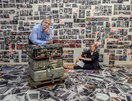 Manhattan, New York, June 2013. Eliane and Jean Pierre Laffont in their studio editing the photographs for the book Photographers Paradise (Glitterati Incorporated, Fall 2014). The suitcase moved around the world with Jean Pierre Laffont.