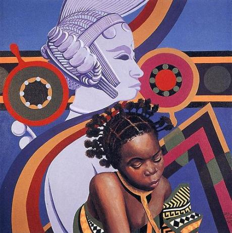 "Lois Mailou Jones (1982) | ""Two African Hair Styles"""