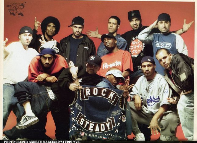 "RADIKAL magazine *2002 Rock Steady Crew feature. — with R.I.P Frosty Freeze, Capital Q Unique, David Nelson, FeverOne Rock Steady, POPMASTER FABEL, Julio Cesar Umaña Rodriguez, Mitchell Graham, Bonz Malone, Rock Steady Crew, Brina AlienNess Martinez, Cookie Wear and Marc Lemberger. Photo courtesy Jorge ""Fabel"" Pabon."