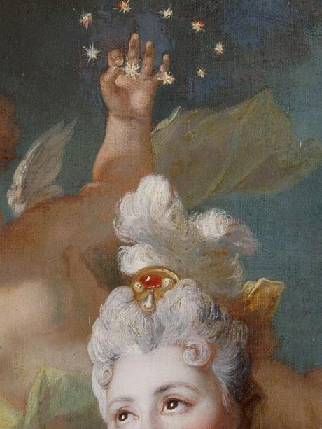 Portrait de la comédienne Marie-Anne de Châteauneuf by Nicolas de Largillierre, 1712 (detail)