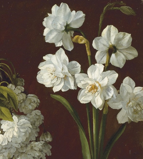 "Purple tulips, white flowering prunus, narcissus and pink chrysanthemum"" 19th Century (detail). Pancrace Bessa (1772 – after 1836)"