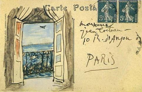 Pablo Picasso, postcard to Jean Cocteau, 1919
