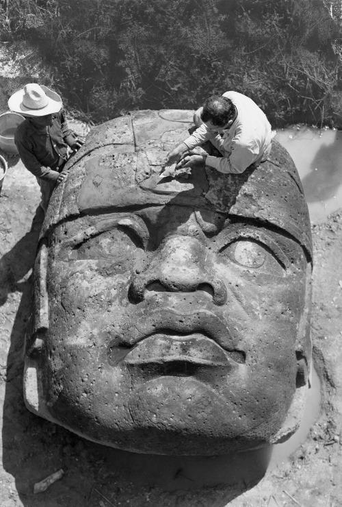 Olmec head, San Lorenzo, Mexico, circa 1946