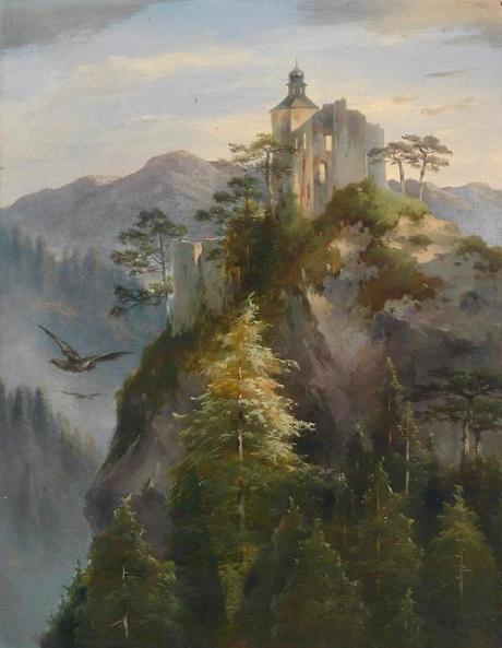 Castle Ruins on a Rocky Mountaintop, 1866, Dominik Schuhfried